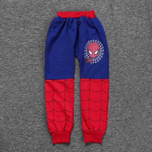 2Pcs Kid Boy Spiderman Zip Hoodie Sweatshirt Trouser Tracksuit Set Clothe Outfit