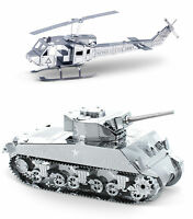 Metal Earth 3d Laser Cut Models - Huey Helicopter And Sherman Tank = Set Of 2