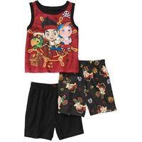 Disney Jake & The Neverland Pirates 3 Pc Shirt Shorts Pajama Set Boy Size 3t 4t