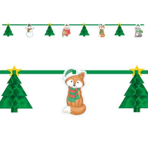 Noël Woodland Animaux Hiver arbre nid d/'abeille Papier Bannière Guirlande DECOR NEIGE