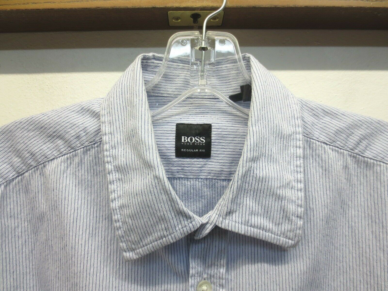 EUC Boss Hugo Boss Lucas bluee White Striped 100% Cotton Shirt Regular Fit Medium