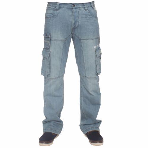Enzo Mens Cargo Combat Trousers Blue Jeans Designer Denim Big King Size Pants