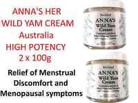 2 X 100g Anna's Wild Yam Cream Australia High Potency Menstrual Menopause Annas