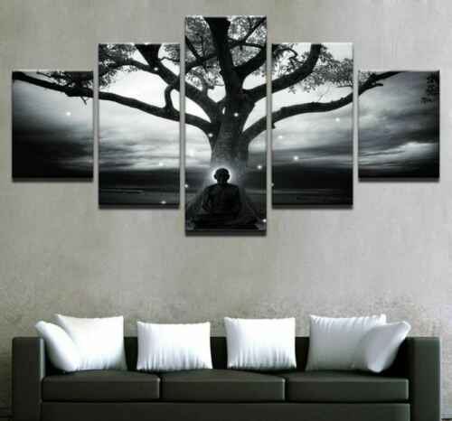 Tree Buddha Meditation Monk 5 Pieces canvas Wall Art Print Picture Home Decor