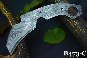 Custom San Mai Damascus Steel Blank Blade Karambit Hunting Knife Handmade(B473C