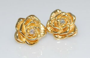Details About Vintage Rare Authentic Tiffany Co 14k Gold Diamond Rose Flower Omega Earrings