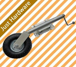 Swing-Up-10-Inflated-Rubber-Pneumatic-Jockey-Wheel-340KG-750LB-NEW-8-hole