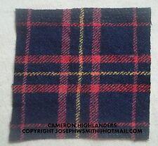 WW2 British Army,Cameron Highlanders tartan patches for Tam O Shanter cap, hat