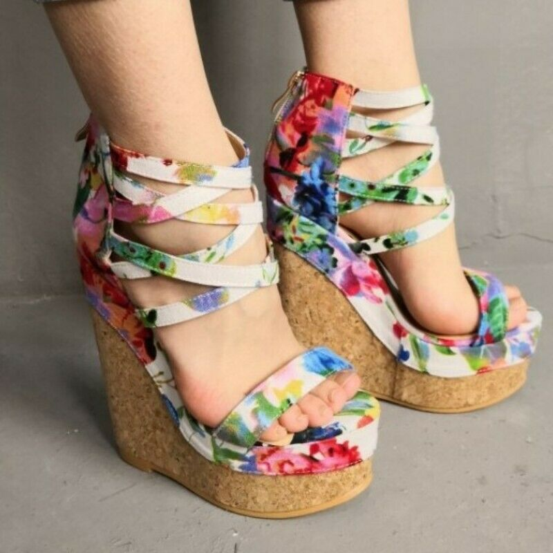 Women's Roman Sandals Canvas Ankle Strap Pumps Zipper Wedge Platform High Heels