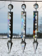 5 LOT CRYSTAL SPEAR CUT 4'' GLASS PRISMS CHANDELIER LAMP DROP REPLACE PART HANG | eBay