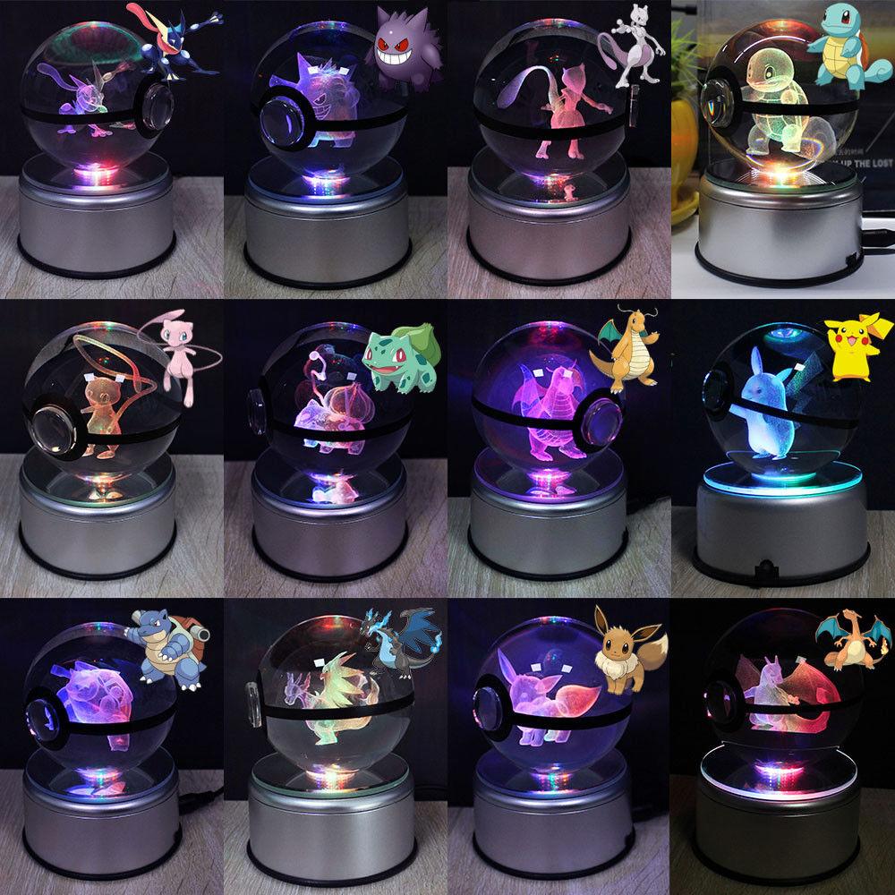 80mm Pokemon 3D Groß Kristall LED Pokeball Tischlampe Nachtlicht Geschenk