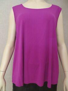 Eileen Fisher Woman Size 1X Sleeveless Silk Top Tunic Shirt Tank Purple NWOT New