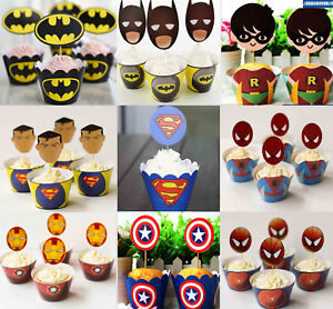 PACK-OF-12-SUPERHERO-AVENGERS-CUPCAKE-WRAPPERS-amp-TOPPERS-BIRTHDAY-PARTY-SUPPIES