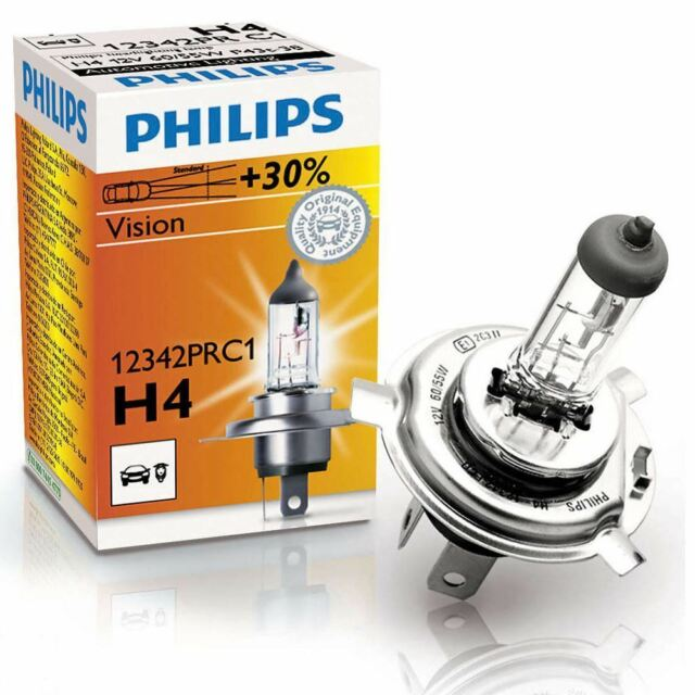 Philips H4 Vision 12v 30% more light Upgrade Car BULB Single