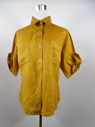 Women Italian Designer Sz Sleeve Vtg Short M Look Linen Blouse Be62 Casual Shirt OUZ41wxqWZ