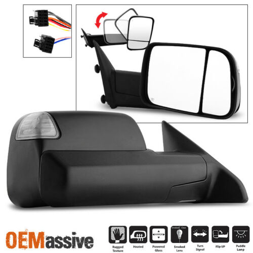 Fit 2009-2011 Dodge Ram Pickup Power Heated LED Signal Passenger Towing Mirror