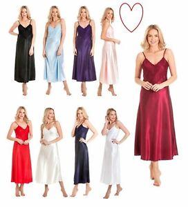 1d7e96be02 Womens Long Satin Nightdress Nightie Deep Lace Plus Size Sleepwear ...