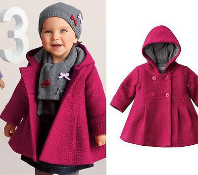 Cute Baby Girl Winter Warm Wool Blend Snowsuit Pea Coat Jacket Outerwear Clothes
