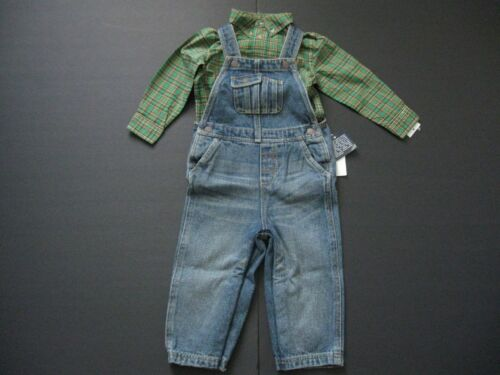 RALPH LAUREN Baby Boy/'s 2-Piece Shirt and Denim Overalls Sz 18M