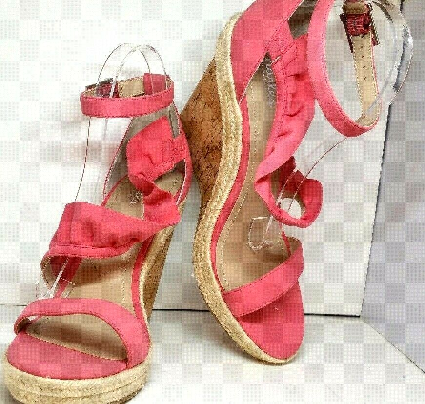 Charles By Charles Charles Charles David Brooke Ruffled Espadrille Wedge Sndl Pink 10M MSRP  100 c3a292