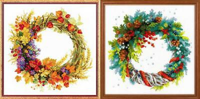 RIOLIS  1537  WREATH WITH WHEAT  COUNTED  CROSS STITCH  KIT