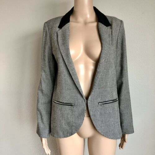 Top Shop Blazer Size 8 Dogtooth Plaid Check Front