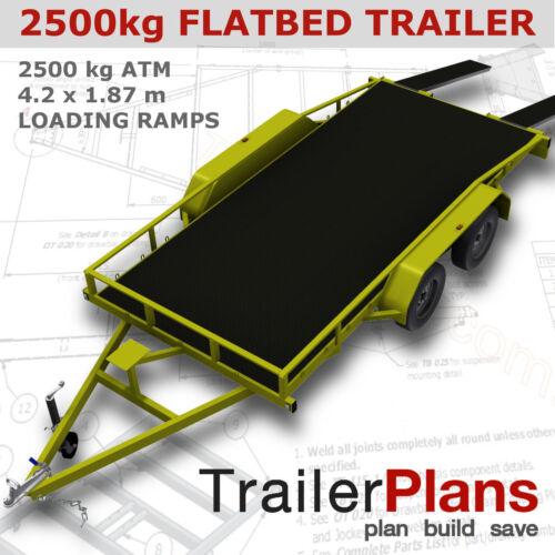 Trailer Plans    -    2500KG FLATBED CAR TRAILER PLANS      -      PLANS ON USB