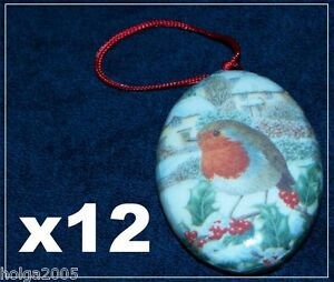 12-Xmas-Tree-Decorations-Robin-Baubles-Vintage-Traditional-Shabby-Chic-Victorian