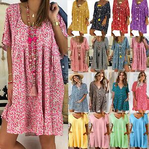 Plus-Women-Boho-Baggy-Short-Mini-Dress-Summer-Beach-Loose-Tunic-Top-Sundress-5XL