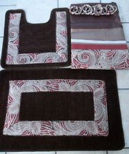 15pc paisley burgundy bathroom shower curtain bath mat set 2 mats curtain rings