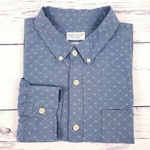 All-Saints-Camisa-para-hombre-mirada-Denim-Azul-Palido-Blanco-Polka-Dot-patron-Talla-L-Grande