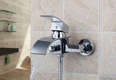 UK Deck//Wall Mounted LED Waterfall Bath Mixer Tap with Handshower Mixer Faucet
