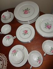 ANCESTRAL TRANSLUCENT CHINA MANOR ROSE USA 27 PC DINNER SET PLATE SOUP BOWL CUP