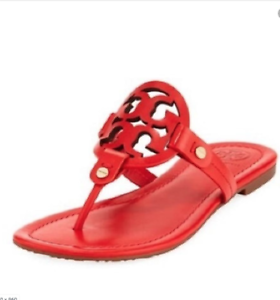 bdfb7f7dd Tory Burch NEW Miller Poppy Orange Leather Logo Flat Sandals RUNS .5 ...