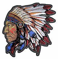 Medium Native American Indian Chief Headdress Embroidered Biker Patch