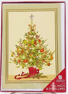 Vintage-Old-Fashioned-Christmas-Tree-Festive-Holiday-Cards-18-count-New