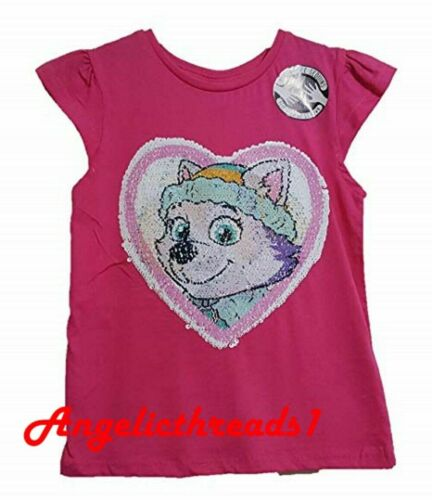 Primark kids Girls Paw Petrol Pink Skye /& Everest Sequin Changing T-shirt TopTee