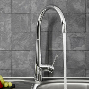 Modern Mono Kitchen Mixer Tap Single Lever Curved Swivel Spout
