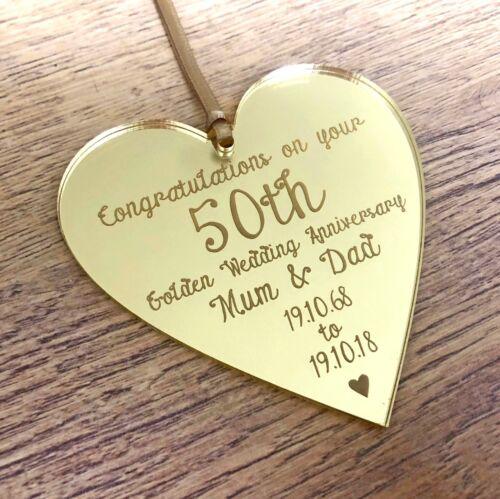 Personnalisé 50th Doré Anniversaire De Mariage Cadeaux Maman Papa Or Décorations Cadeau