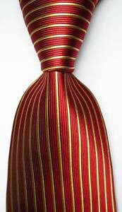 New-Classic-Striped-Red-Gold-JACQUARD-WOVEN-100-Silk-Men-039-s-Tie-Necktie