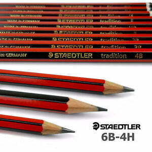 12-x-Staedtler-Tradition-Pencils-Sketching-6B-5B-4B-3B-2B-B-HB-F-H-2H-3H-4H