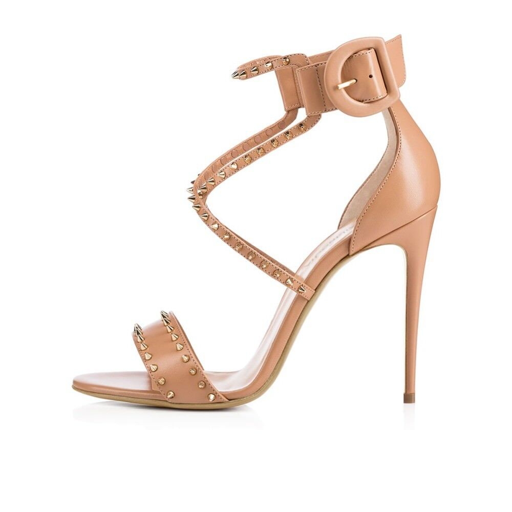 2018 Women Stiletto Heel Spikes Sandals Studded Strappy Black Nude Custom Shoes