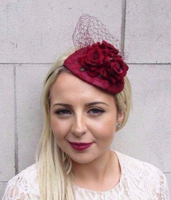 Burgundy Red Rose Flower Fascinator Net Hair Headband Wedding Races Hat 3699 67c79e9b6f3