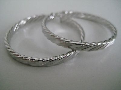 9ct white gold large braided style hoop earrings NEW...