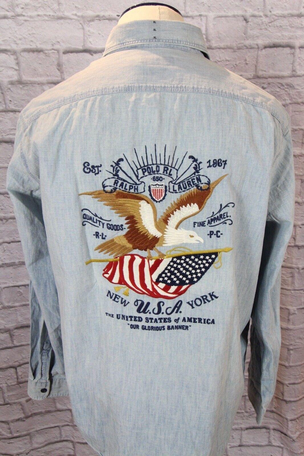 NEW w tags Ralph Lauren XL Men's Button up long sleeve shirt, US Flag Eagle