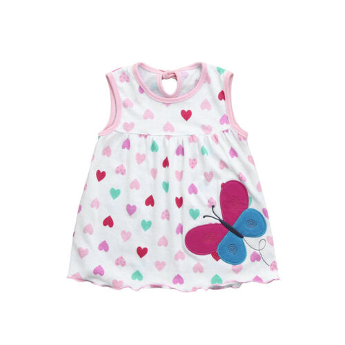 Toddler Kids Girl Baby Infant Cartoon Flower Dot Floral Tees Dress T-Shirt Vest
