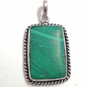 Rectangle Pattern Stylish Sterling Silver Green Malachite Stone Pendent PSP-24