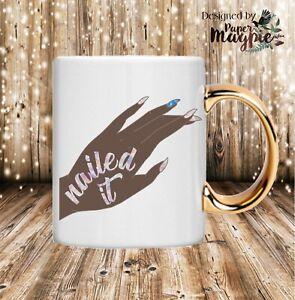 Nailed-it-11oz-Gold-Handle-Mug-Gift-Box-Funny-Pun-Humour-Birthday-Christmas