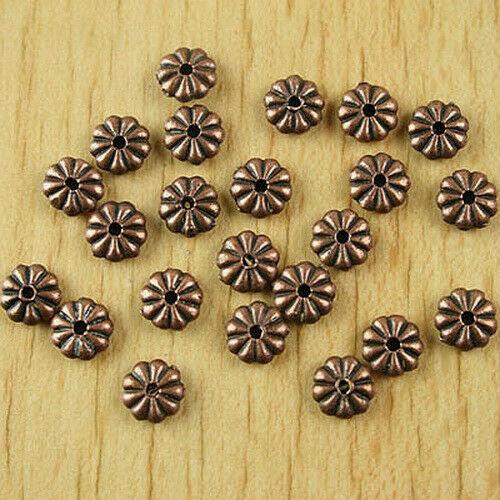 40pcs copper tone daisy flower spacer beads H1906