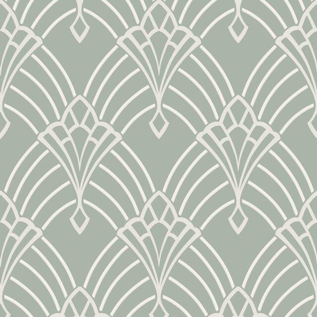 Astoria Art Deco Tapete Entenei / Silber - Rasch 305333 Glitzer